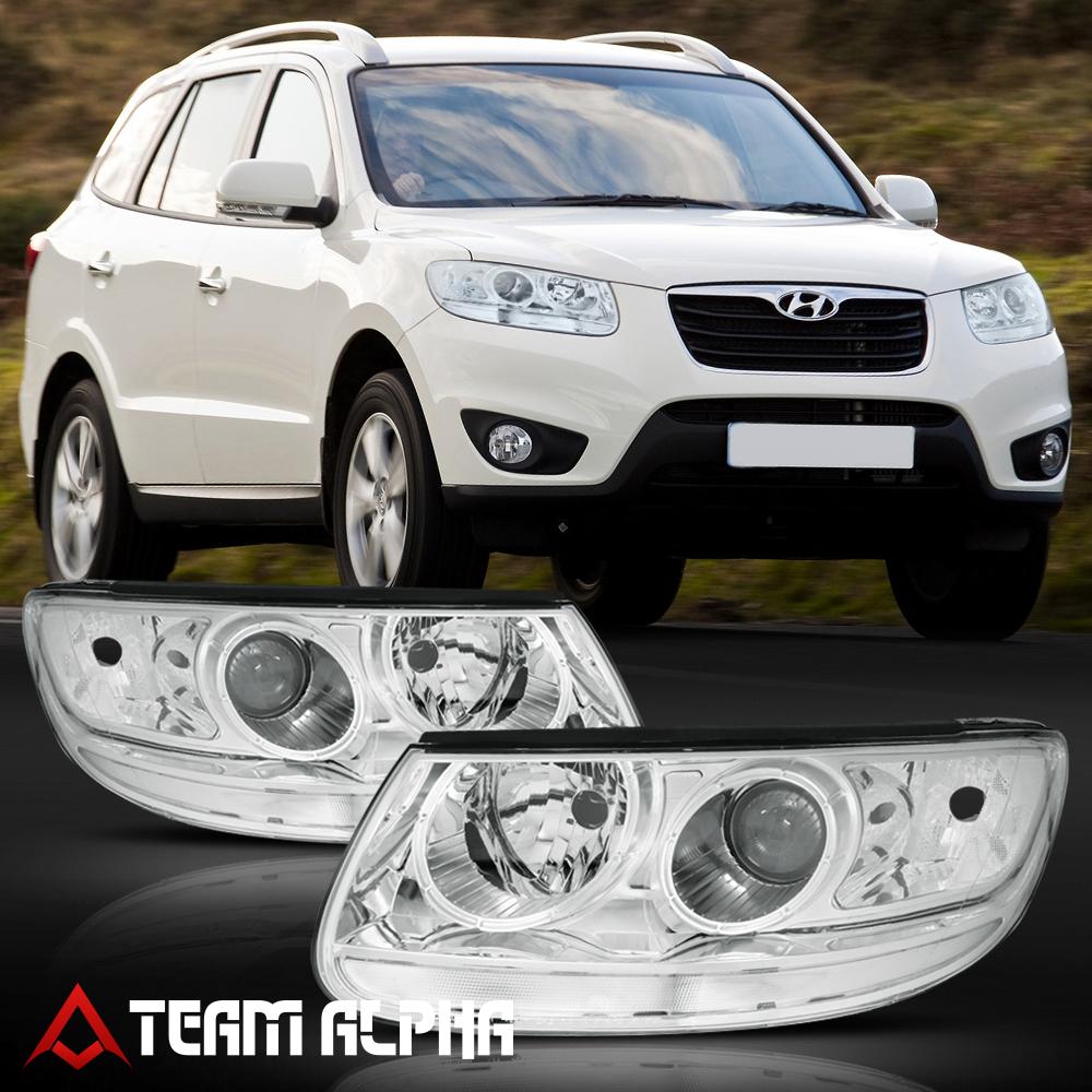 Fits 2007 2012 Hyundai Santa Fe Chrome Clear Crystal